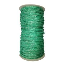 Sznurek bawełniany zielony ze złotą nitką 100m z rdzeniem