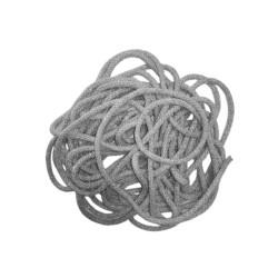Sznurek bawełniany szary ze srebrną nitką 100m z rdzeniem