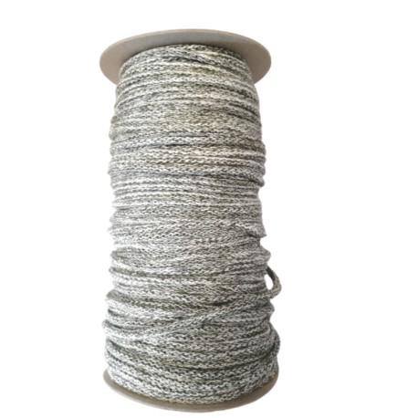 Sznurek bawełniany melanż -biały/khaki -100m z rdzeniem