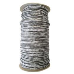 Sznurek bawełniany prążek -biały/czarny -100m z rdzeniem